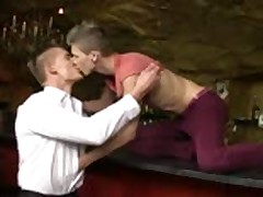 Horny barman barebacked by customer